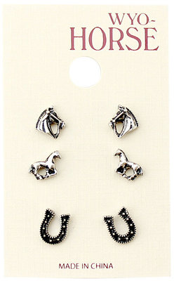 Horse Earrings, 3 pack