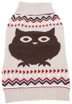 Jacquard Knit Owl Dog Sweater, Large