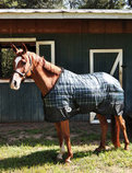Jeffers Closed Front Green Plaid Stable Blanket