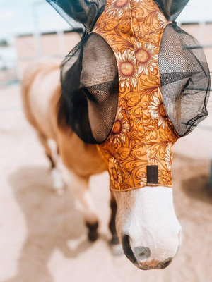 """Jeffers Expression """"Bloomin' Toolin'"""" Lycra Fly Mask with Ears"""