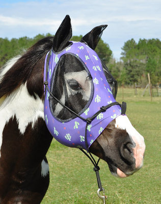 """Jeffers Expression """"Prickly Cactus"""" Lycra Fly Mask with Ears"""