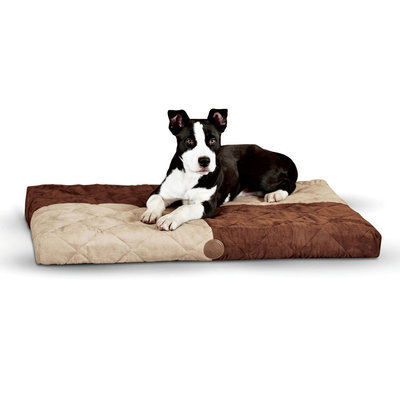 "K&H Quilted Memory Dream Bed - Chocolate/Tan 37"" x 52"""