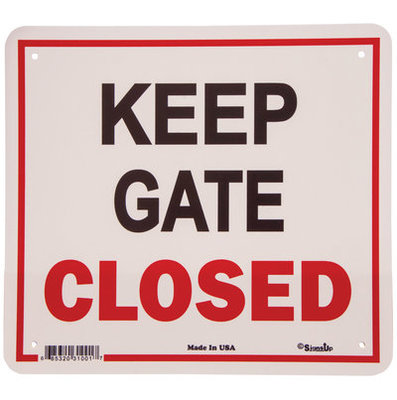 """Keep Gate Closed"" Sign, 11.5"" x 12.75"""