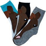 "Ladies ""Horse Face"" Socks, 3 pair"