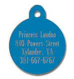 Large Circle Shaped Dog Tag, Blue