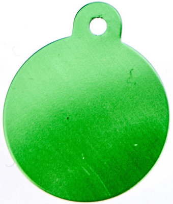 Large Circle Shaped Dog Tag, Lime Green