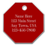 Large Stop Sign Dog Tag, Red