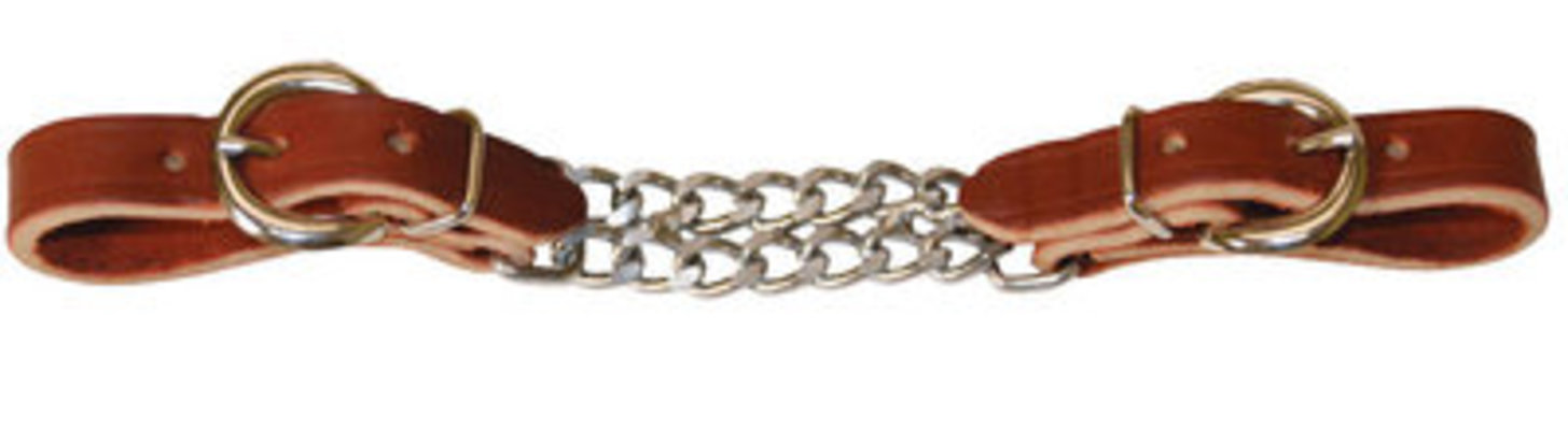 Leather Curb with Double Chain