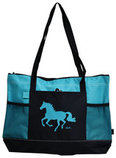 """Lila"" Galloping Horse Tote Bags"