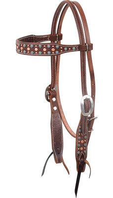 Martin Saddlery Turquoise & Copper Dots Headstall
