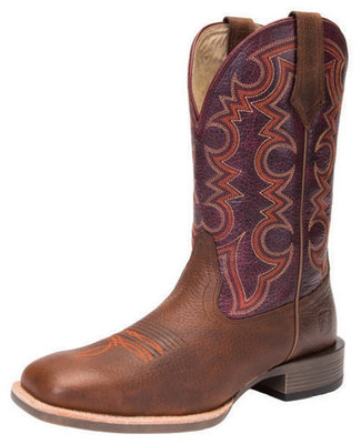 Men's All-Around Square Toe Authentic Boot, Wide, Rustic Brown/Burgundy