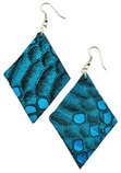 Metallic Turquoise Snakeskin Diamond Earrings