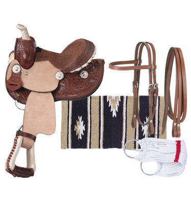 Miniature Leather Barrel Saddle Package