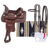 Miniature Western Leather Saddle Package