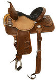 Molly Powell Patent Cowgirl Freedom Fit Barrel Saddle, Mahogany