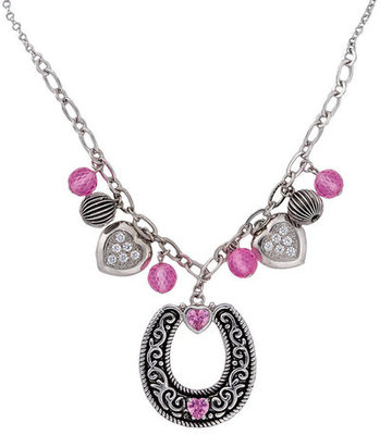 Cowgirl Pink Horseshoe Necklace