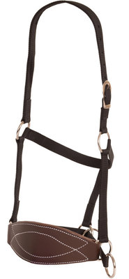 Poly Mule Halter with Leather Bronc Nose, Black