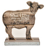 """My Home"" Wood Tabletop Cow"