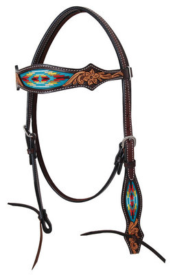 Navajo Embroidered Browband Headstall