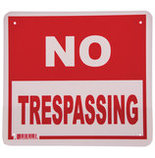 """No Trespassing"" Sign, 11.5"" x 12.75"""