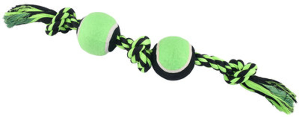 Nuts for Knots 3 Knot Rope with 2 Tennis Balls, Assorted, 20""