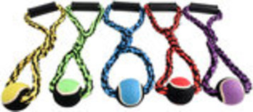 Nuts for Knots Rope Tug with Handle and Tennis Ball, Assorted, 20""