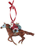 """""""Off to the Races"""" Santa Ornament"""