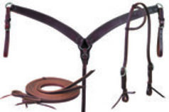 Oiled Harness Leather Tack Set with Sliding Ear Headstall Kit