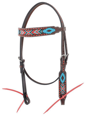 Oxbow Aztec Beaded Browband Headstall, Full