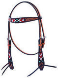 Oxbow Tooled Beaded Browband Headstall, Full