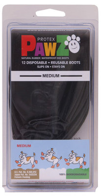 "Medium PawZ Dog Boots, Black, 3"" L"