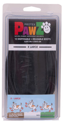 "XLarge PawZ Dog Boots, Black, 5"" L"