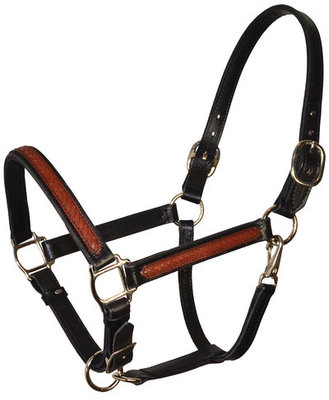 Perri's Leather Overlay Halter, Black/Brown