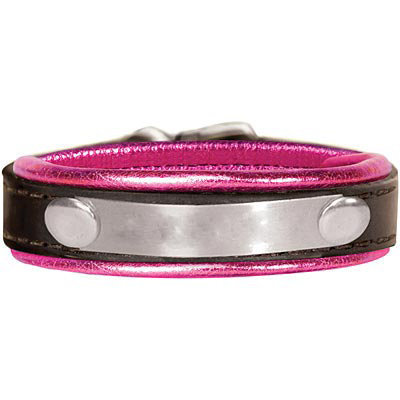 Metallic Padded Leather Bracelet with Engraved Plate