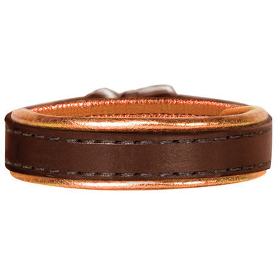 Padded Metallic Leather Bracelet with Engraved Plate