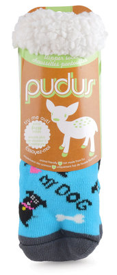 Pudus Pet Print Fuzzy Slipper Socks