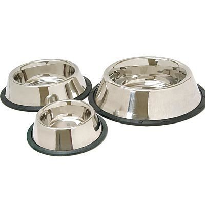 No-Skid/No-Tip Stainless Steel Pet Bowls, 1 Pint