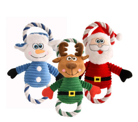 3-Pack Plush Rope & Squeak Christmas Toys
