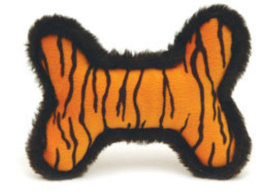 Plush Tiger Skin Bone Squeaky Toy