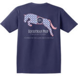 Preppy Jumping Horse Pocket Tee, True Navy