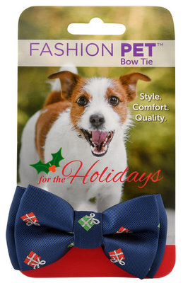 Present Motif Christmas Dog Bow Tie
