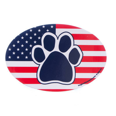 Proud to be an American Dog Paw Flag Car Magnet