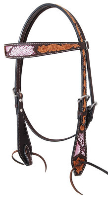 Python Antiqued Browband Headstall