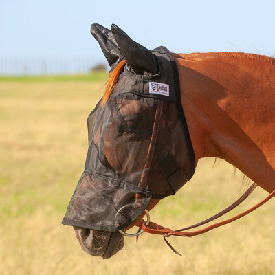 Quiet Ride Fly Mask w/ Ears & Long Nose, Black