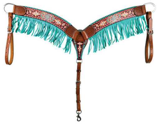 Rafter T Aztec & Cross Breast Collar with Fringe
