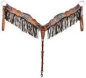 Rafter T Beaded Inlay Breast Collar with Fringe