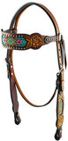 Rafter T Beaded Inlay Browband Headstall