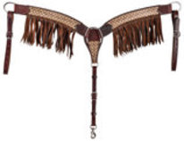 Rafter T Branded Breast Collar with Fringe