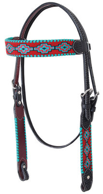 Rafter T Embroidered Aztec Browband Headstall