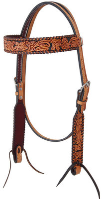 Rafter T Floral Tooled Browband Headstall